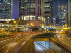 Late Night, Connaught Rd C HDR (rmlowe) Tags: china road cars night hongkong asia skyscrapers central ifc b