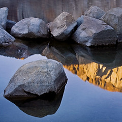 reflection (cins_city) Tags: lake mountains reflection sunrise rocks mammoth easternsierra convictlake