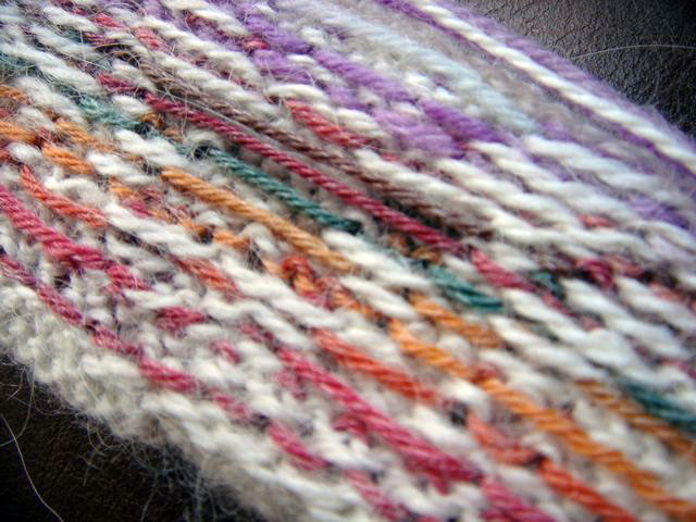 Yay! My first swatch with stranding - reverse view.