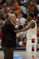 SU coach Jim Boeheim instructs sophomore guard Scoop Jardine.
