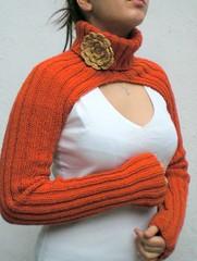 Hand Knitted Shrug (crochetbutterfly) Tags: orange knitting turtleneck knitted shrug