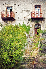 abandoned (heavenuphere) Tags: old italy house abandoned film stairs vintage project big rust italia decay balcony steps renovation spoleto effect 1750mm