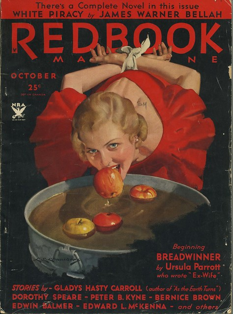 Redbook cover Oct 1933, Bobbing for Apples