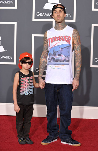 Travis Barker (R) and son Landon