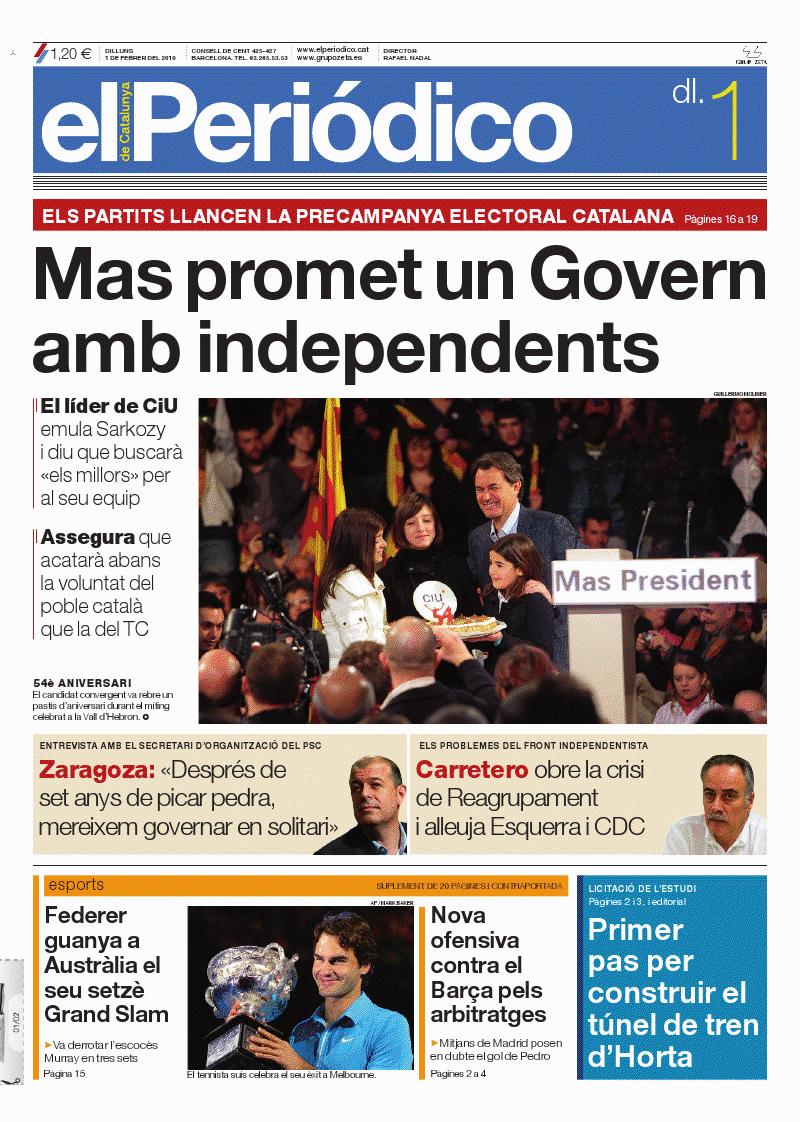 Portada Acte Proclamació Artur Mas. 1 de febrer de 2010