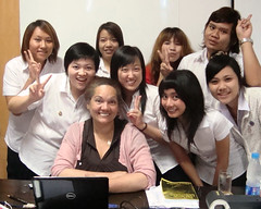 Xae Reyes with students in Thailand