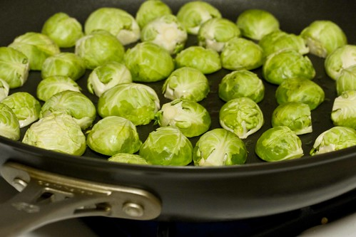 halved brussels sprouts, browning