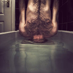 Waterboarding (STCM) Tags: usa man water hair death bath war underwater chest breath clean wash tiles torture drowning drown headstand