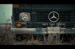 prey. slay. display. (tomms) Tags: toronto abandoned truck mercedes distillerydistrict preyslaydisplay canonef135lf2