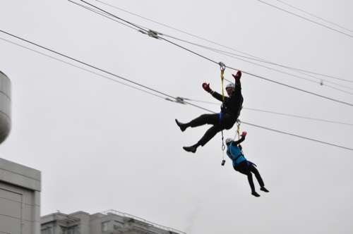 Premier Gordon Campbell on the Zipline