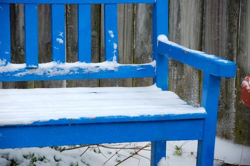 snowy garden bench