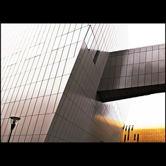 Tilt (Maerten Prins) Tags: windows light abstract reflection building lines wall architecture modern grid gold grey minimal lamppost groningen tilt skewed umcg