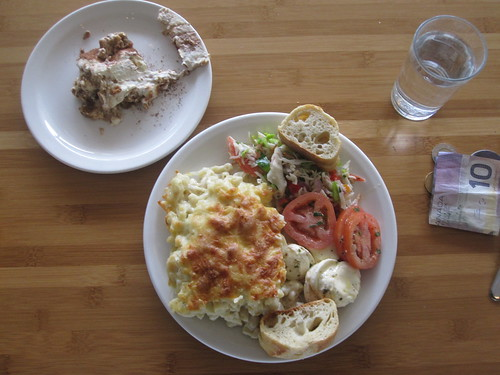 macaroni, tomato and mozza salad, bread, surimi salad, tiramisu - $6