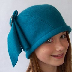 Flapper Style Helmet Cloche in Teal Wool