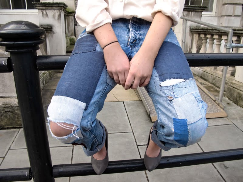 Patchwork denim jeans Facehunter