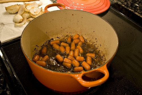 Cooking carrots.