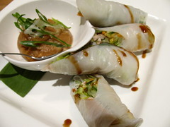 Lemongrass Chicken Salad Rolls with Cashew Ginger Sauce @ Tango Bistro