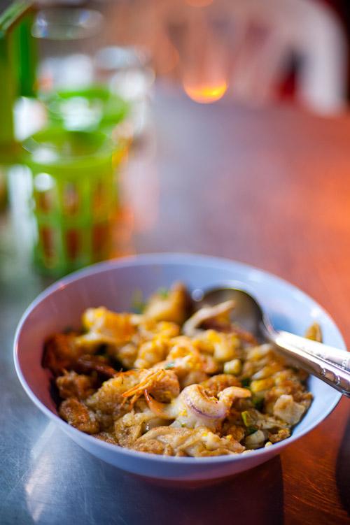 A dish of kuaytiaw khua kai at Nong Stamp, a restaurant in Bangkok