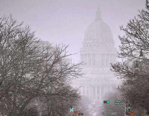 Capitol Looms Over Downtown Madison on a Snowy Afternoon