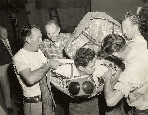 THE WAR OF THE WORLDS (1953) Martian costume construction - Charles Gemora enters the suit