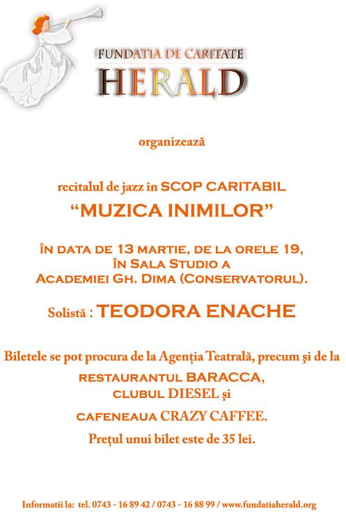 Herald - Recital de jazz în scop caritabil cu Teodora Enache