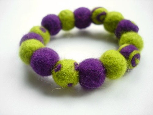 needle felted green and purple bracelet