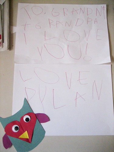 A letter to grandma and grandpa.  I told Dylan what letters to write and he wrote them.. He wrote Love, Dylan without any prompting as we had written
