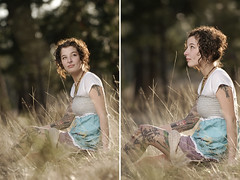 Kelle (jordanvoth.com) Tags: sun tree girl beautiful field grass woods nikon diptych pretty chelsea bokeh gorgeous wheat rim alienbee vr strobe kelle 70200mm d300 b800