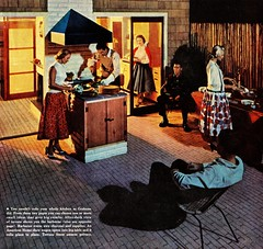 The Grahams' New Patio (saltycotton) Tags: party vintage magazine ad husband advertisement patio barbecue 1950s wife buffet 1956 theamericanhome