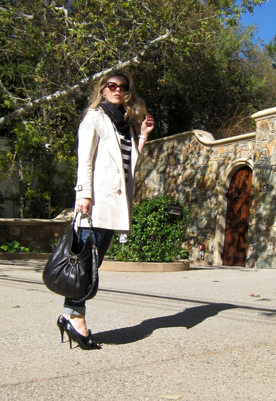 burberry trench and stripes