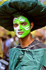 At the Goa Carnaval - Portrait of a Young clean and green Man without Green Eyes ! (Anoop Negi) Tags: world carnival portrait brown india white color colour tourism beautiful hat sunshine photography for photo eyes momo media colorful paint king place mask image photos delhi indian bangalore goa creative culture handsome disposal images best parade dude clean babes po carnaval waste tradition sack float removal mumbai carnevale anoop greeen vasco journalism tableaux masque panjim 2010 negi mapusa margao photosof ezee123 garbabge bestphotographer imagesof anoopnegi jjournalism