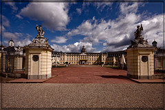 Karlsruhe Palace (*Glueckskind*) Tags: castle clouds germany deutschland eingang entrance wolken palace residence schloss baden karlsruhe residenz badenwrttemberg canon40d platinumheartaward goldstaraward badischeslandesmuseum