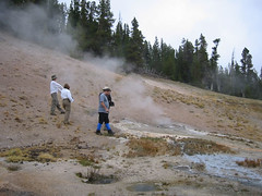 Exploring the hot springs near the hillside at Lone Star Geyser.  I think Leslie is demonstrating her new 'vole dance' for Tonya.