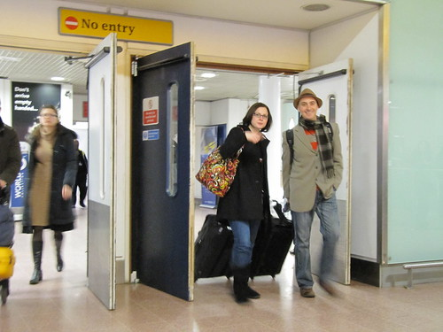 Candace and Lee Coram arrive from the US via Heathrow