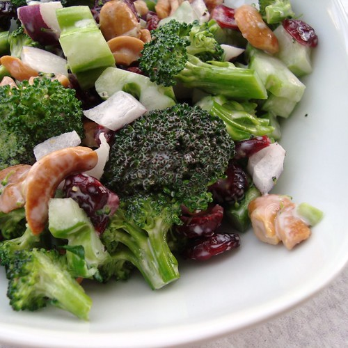 Broccoli Slaw with Cranberries and Cashews