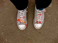 Paint splattered shoes (Let's Colour) Tags: orange paris france color colour painting shoes paint couleurs peinture converse colourful 93 transform chaussures aulnay dulux akzonobel valentine euro letscolor letscolour dulux rscg