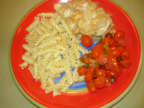 Tonight's Dinner: Rosemary Cashew Chicken with Pasta and Sauteed Grape Tomatoes