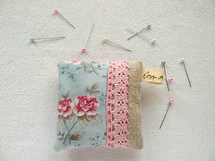 rose pincushion, front (Cozy Memories) Tags: pink roses crossstitch stitch handmade embroidery gingham pincushion cozymemories