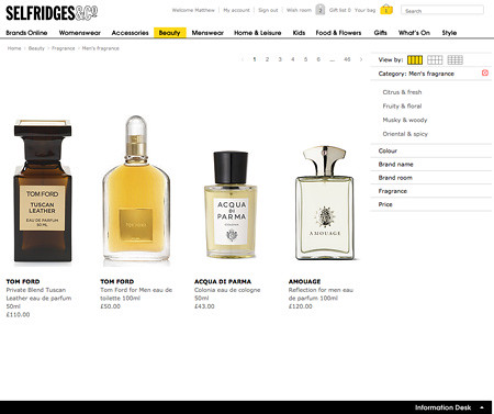 Category pages on Selfridges.com