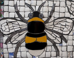Part of Cleo Mussi's mosaic at Contemorpary Applied Arts Gallery, 2 Percy St, London W1, Tottenham Court Rd tube. (Sunny Spells) Tags: london art exhibition bee bumble w1 mosai cleomussi contemparyapplieartsgallery