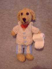 "7"" Labrador in PJ's with loo roll! (Impression-Knits) Tags: food fish dogs knitting hats icecream knitted dognovelties"