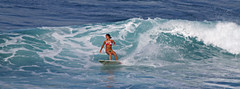 fun wave (bluewavechris) Tags: ocean sea water girl fun hawaii surf action board tan wave maui bikini surfboard swell wahine honolua