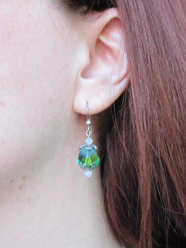 green earring I made