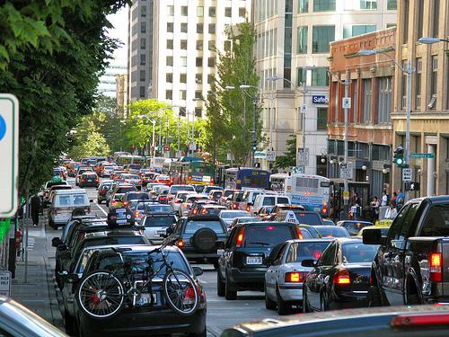 Seattle downtown traffic by Oran Viriyincy, creative commons license
