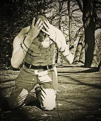 prisoner (matthewheptinstall) Tags: portrait selfportrait man film vintage chains wire retro prison jail shackles barbedwire bound shackled imprisoned lseries 2470 50d filmeffect florabella