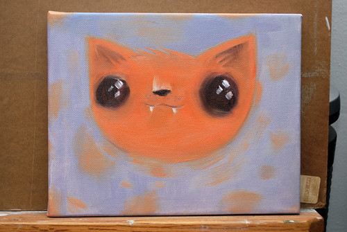kitty oil painting