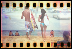 Hawaiian Visions (Justin Ornellas) Tags: ocean justin girls art film beach water beautiful 35mm vintage hawaii holga interestingness interesting lomo lomography waves oahu surfing holes retro bikini flip  hawaiian sandys portlock sandybeach sprocket halona explored chinawalls ornellas ornellaswouldgo