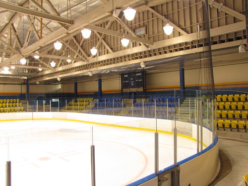 One end of the Father Bauer Arena at the UBC Thunderbird Sports Centre