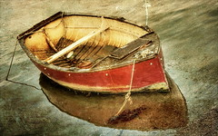 Lonely Red Boat (Beccy Melling) Tags: old red reflection texture abandoned stone composition canon reflections river boats eos boat wooden fishing peeling cornwall little traditional kitlens sunny bondage diagonal textures hero winner mooring april rowing lonely block ropes 1855mm nautical tied 9th tiedup desolate planks fowey 2010 oars cornish moored redboat golant onthewater riverfowey april9th 450d challengeyouwinner assignment20 thechallengegame challengegamewinner beccymelling thechallengefactory cornwallflickrusers pregamewinner