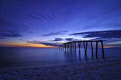 Indigo Gulf (Fort Photo) Tags: ocean longexposure blue sunset sky beach gulfofmexico nature water clouds landscape star evening coast pier nikon florida dusk indigo shore flickrversary coastline fl bluehour 2010 d300 catchycolorsblue superaplus aplusphoto flickrdiamond tokina1116